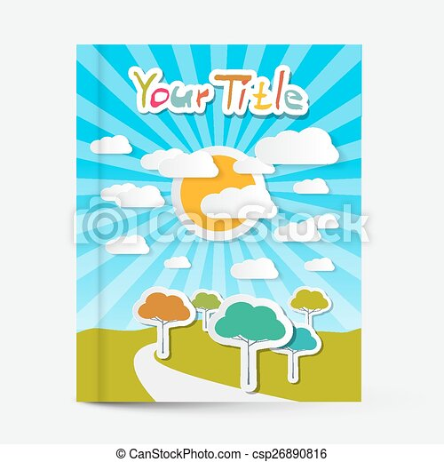 Vector Book Or Flyer Leaflet Cover Design With Landscape On Title Page