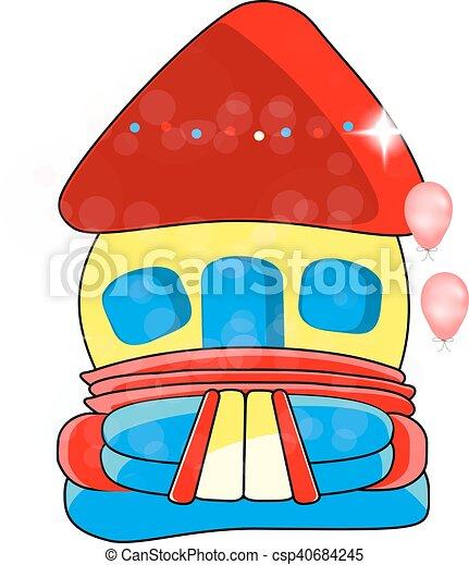 Vector bouncy castle - children's entertainment, , inflatable toy - csp40684245