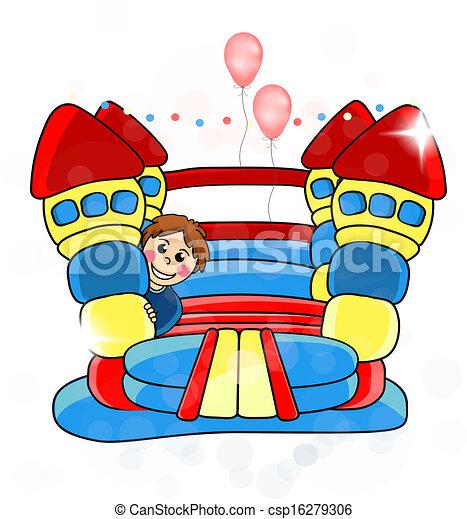 Vector bouncy castle - childrens entertainment - EPS 10 - csp16279306