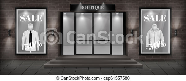 Vector boutique shop facade with signboard - csp61557580