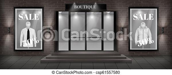 Vector boutique shop facade with signboard - csp61557580