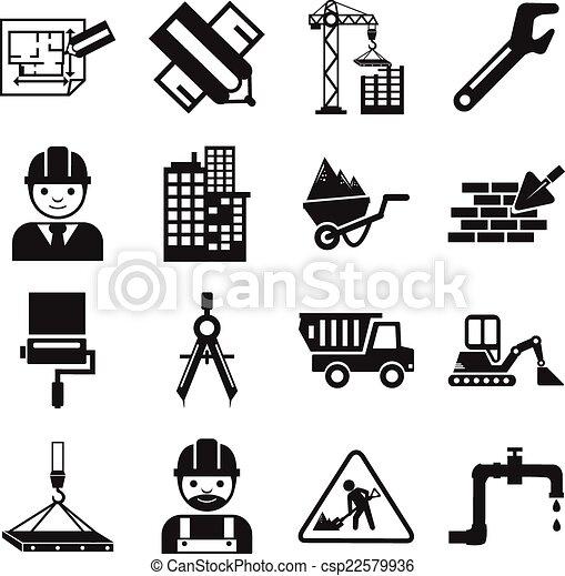 vector, bouwsector, liggen, pictogram - csp22579936