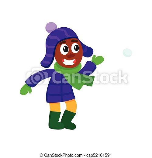 vector boy having fun with snoball isolated - csp52161591