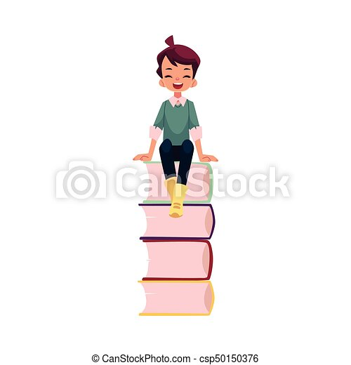 vector boy sitting at big pile of school books - csp50150376