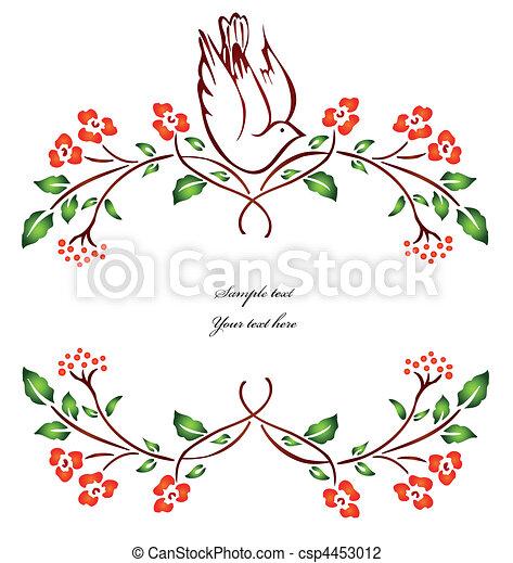 vector, branch., flor, pájaro, sentado - csp4453012
