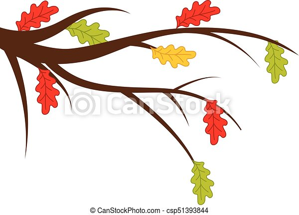 Vector Branch with Autumn Oak Leaves - csp51393844
