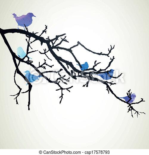 Vector Branch with Birds - csp17578793