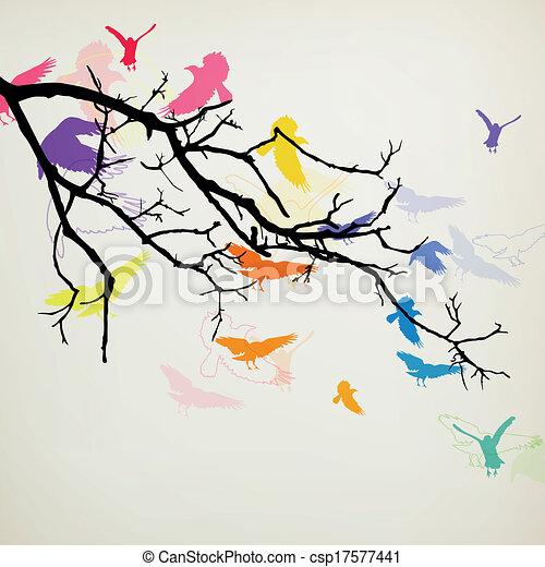 Vector Branch with Birds - csp17577441
