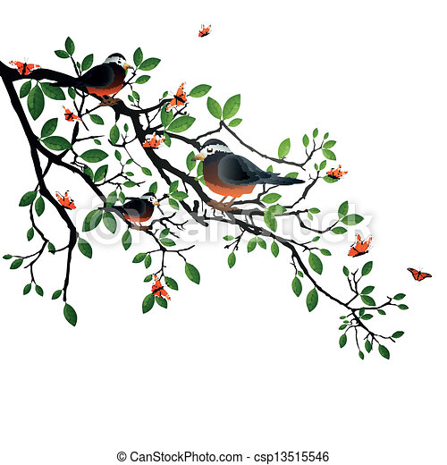 Vector Branch with Green Leafs, Birds and Butterflies - csp13515546
