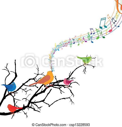 Vector Branch with Singing Birds - csp13228593