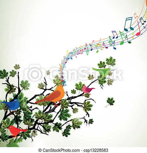 Vector Branch with Singing Birds - csp13228583