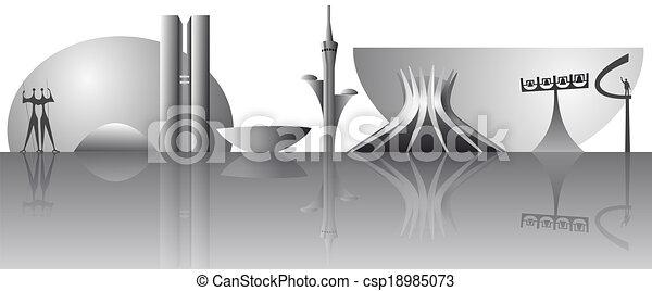 vector Brasilia city skyline - csp18985073