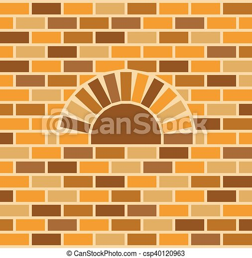 Vector brick oven and wall background.
