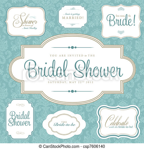 vector bridal shower frame set easy to edit perfect for invitations or announcements
