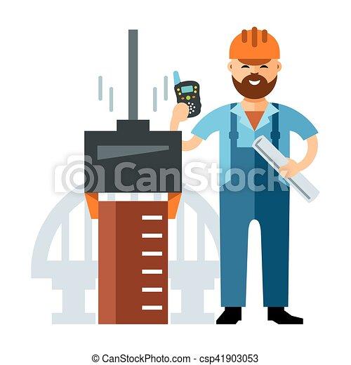 Vector Bridge builder. Flat style colorful Cartoon illustration. - csp41903053