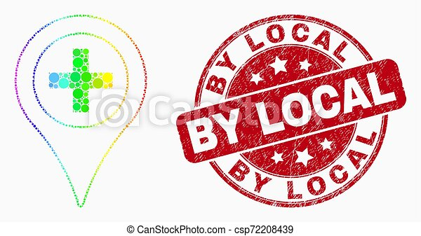 Vector Bright Dotted Medical Map Marker Icon and Grunge By Local Watermark - csp72208439