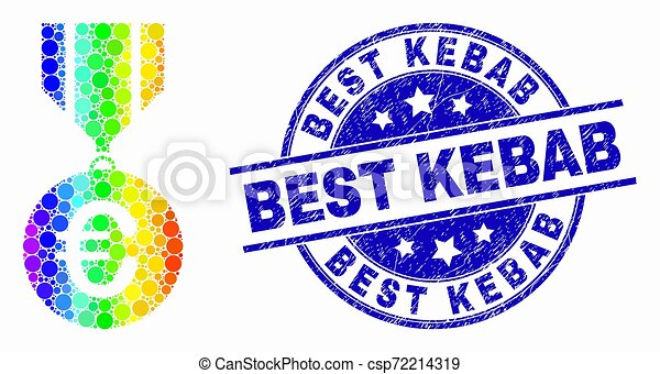 Vector Bright Pixelated Euro Medal Icon And Distress Best Kebab Stamp