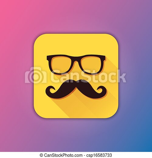 vector, bril, mustache, pictogram - csp16583733