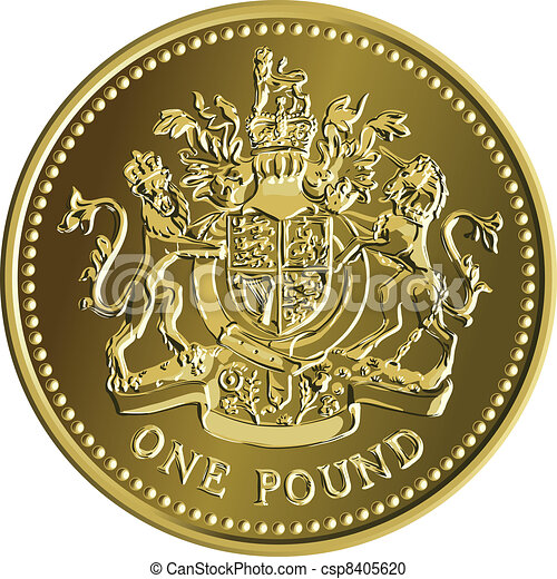 Vector British money gold coin one pound with the coat of arms - csp8405620