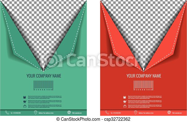 vector brochure flyer paper fold effect magazine cover poster