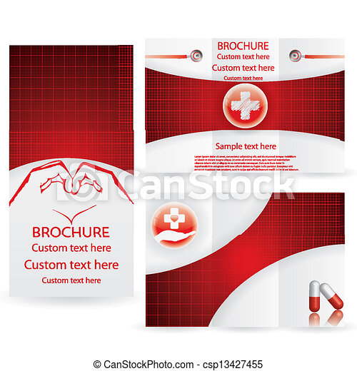 Vector Brochure Layout Design Template Red Medical Clipart Vector - Custom brochure templates