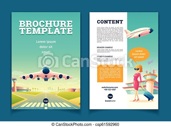 Vector Brochure With Airplane Takeoff Tourism Booklet Vector