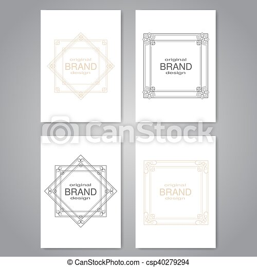 vector brochure with decorative frame flyer or book design with