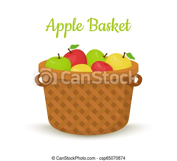 Vector brown basket with apples. Bright fruits - csp65070874
