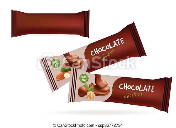 Vector brown blank food packaging for biscuit, wafer, sweets ...