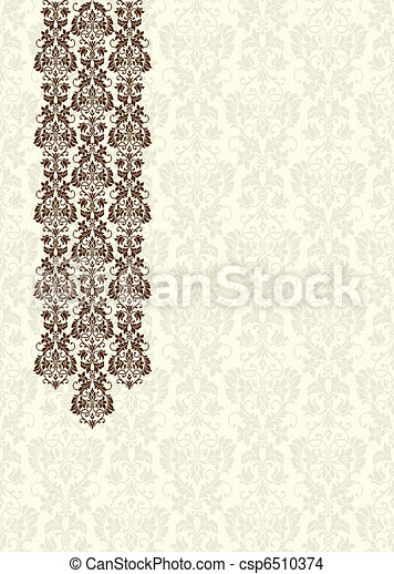 Vector Brown Damask Background - csp6510374