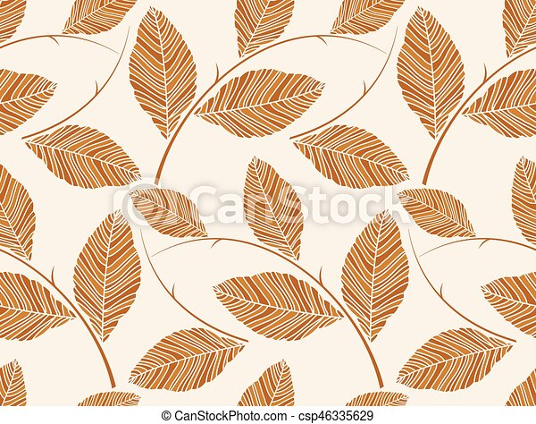 Vector - Brown seamless leaves wallpaper pattern - csp46335629