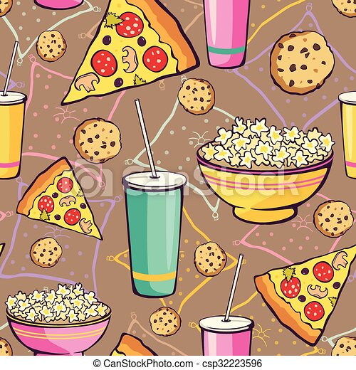 Vector Brown Slumber Party Food Seamless Pattern. Pizza. Drink. Cookie. Popcorn. Snack. - csp32223596