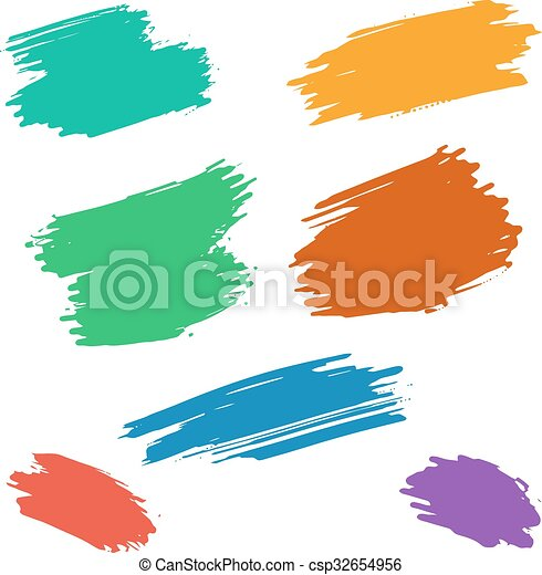 vector brush stroke set of vector grunge colorful dry brush strokes rh canstockphoto com brush stroke clipart brush stroke clipart free