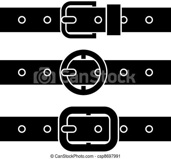 vector buckle belt black symbols - csp8697991