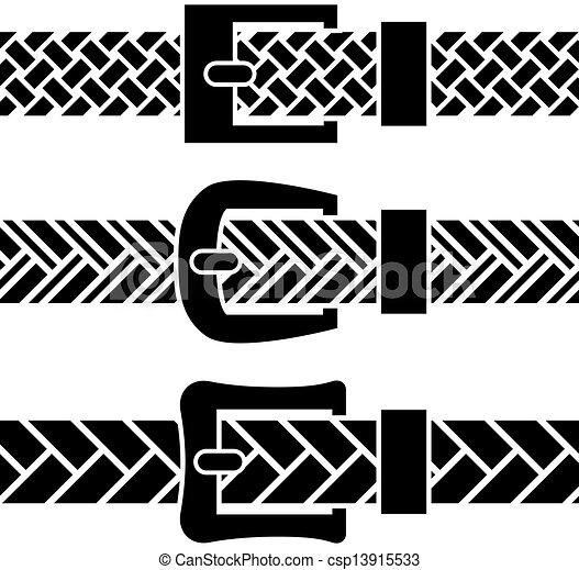 vector buckle braided belt black symbols - csp13915533