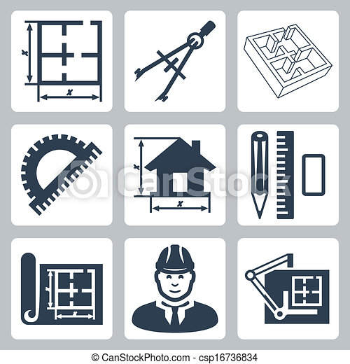Vector building design icons set: layout, pair of compasses, protractor, pencil, ruler, eraser, blueprint, designer, drawing board - csp16736834