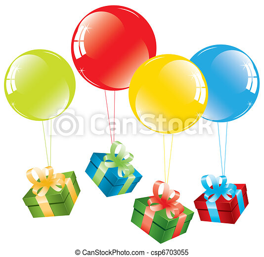 vector bunch of colorful balloons and a gift box - csp6703055