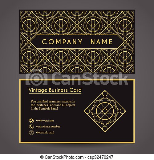 Vector Business Card Template Luxury Vintage Business Card Eps - Vintage business card template