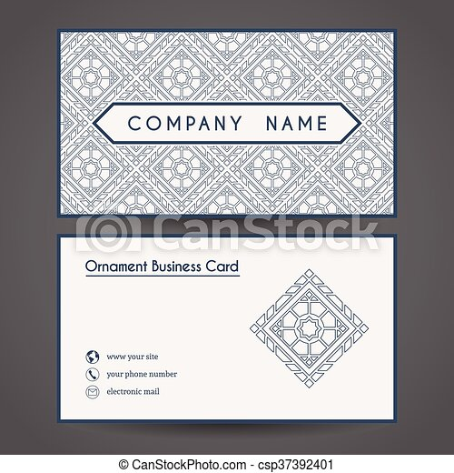 Vector Business Card Template Ornamental Vintage Business Card