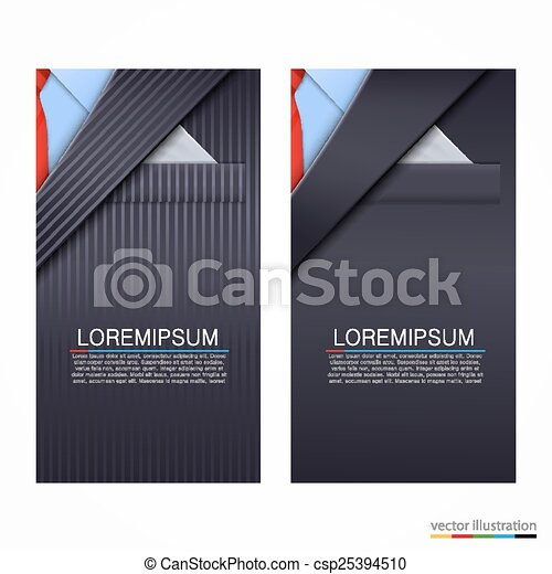 Vector business cards with suit - csp25394510