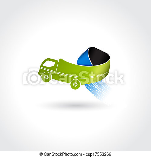 Vector business delivery symbol, transport icon, truck with tire tracks - csp17553266