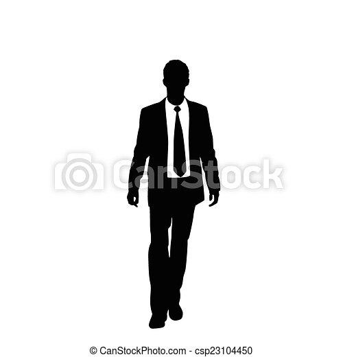 vector business man black silhouette walk step forward - csp23104450