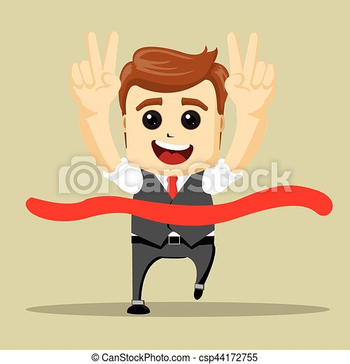 Vector business man smile and run to the finish. - csp44172755
