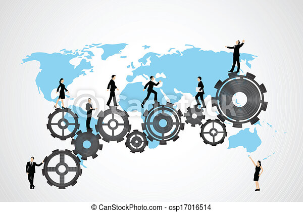 Vector Business People on gear - csp17016514