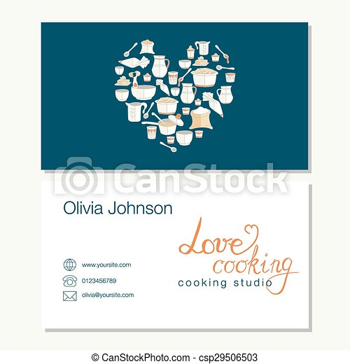 Vector business template with cute hand drawn kitchen utensils ...