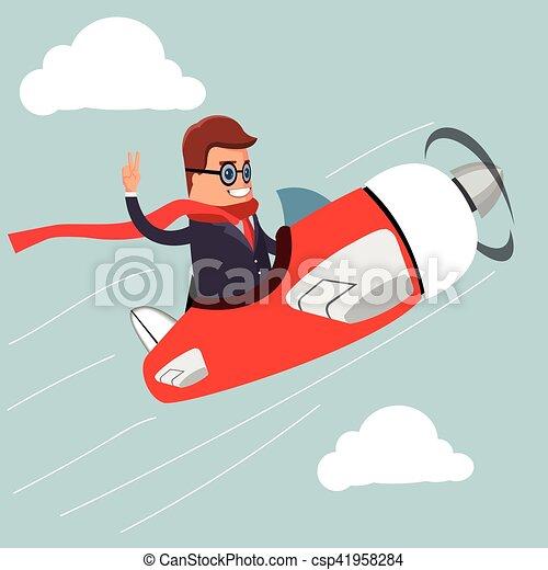 Vector. Businessman on airplane. - csp41958284