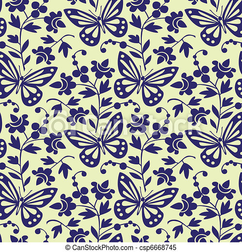 Vector butterflies seamless pattern - csp6668745