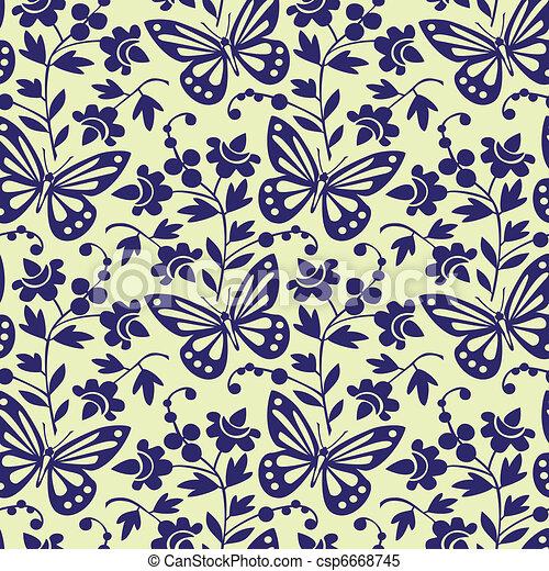 Vector butterflies seamless pattern - csp6668745