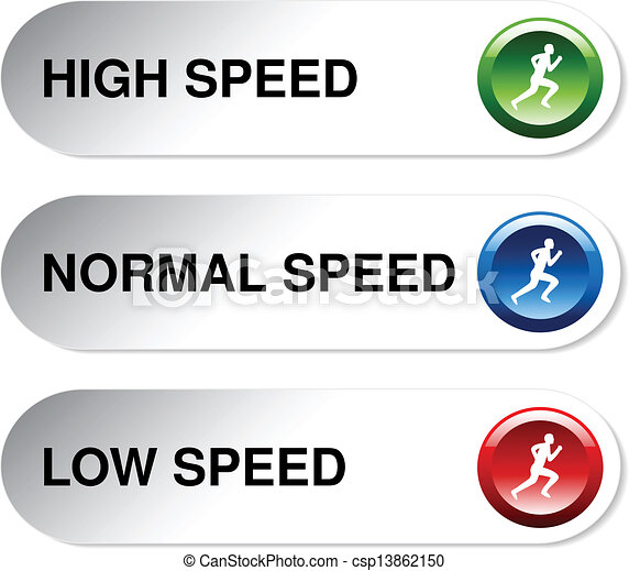 Vector button of speed - low, normal, high - csp13862150