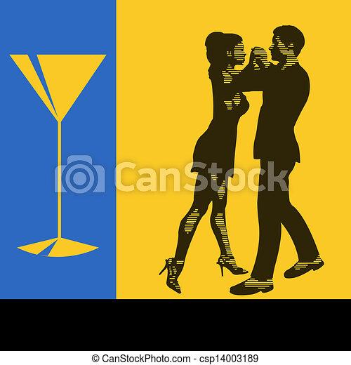 Baile de cócteles, ilustración de fondo Vector con un par de bailarines para un menú de eventos para el volante - csp14003189
